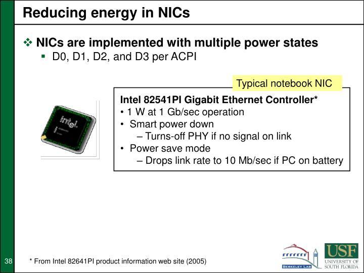 Reducing energy in NICs