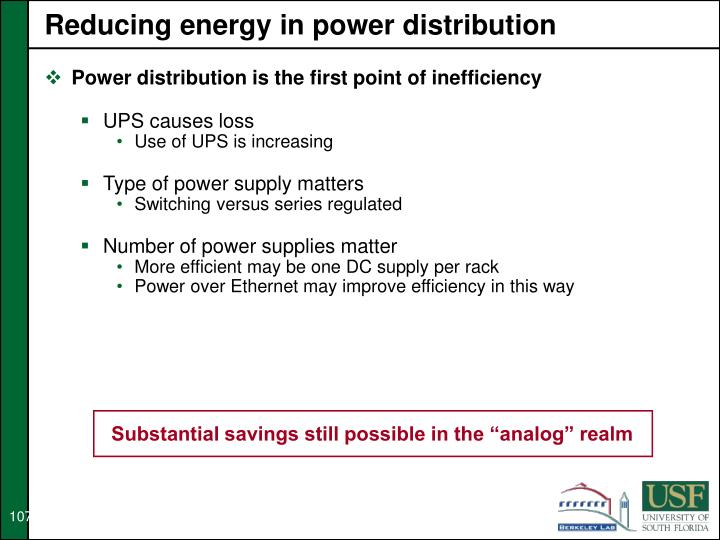 Reducing energy in power distribution
