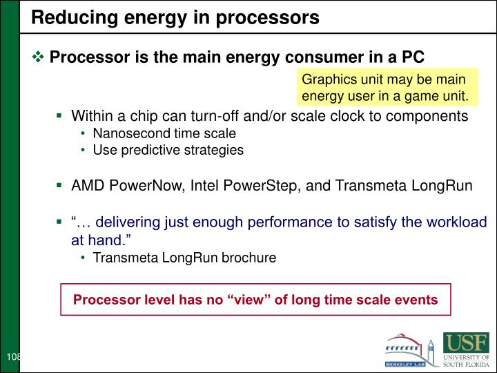 Reducing energy in processors