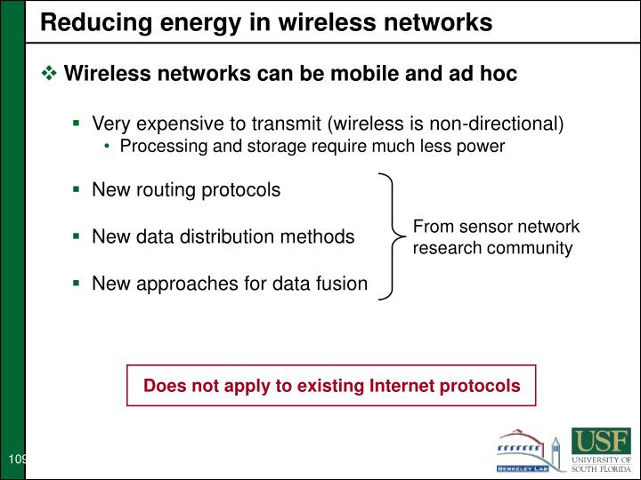 Reducing energy in wireless networks