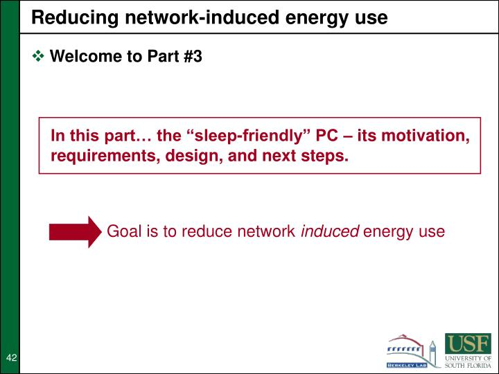 Reducing network-induced energy use