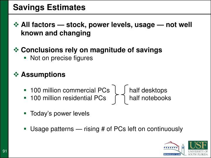 Savings Estimates