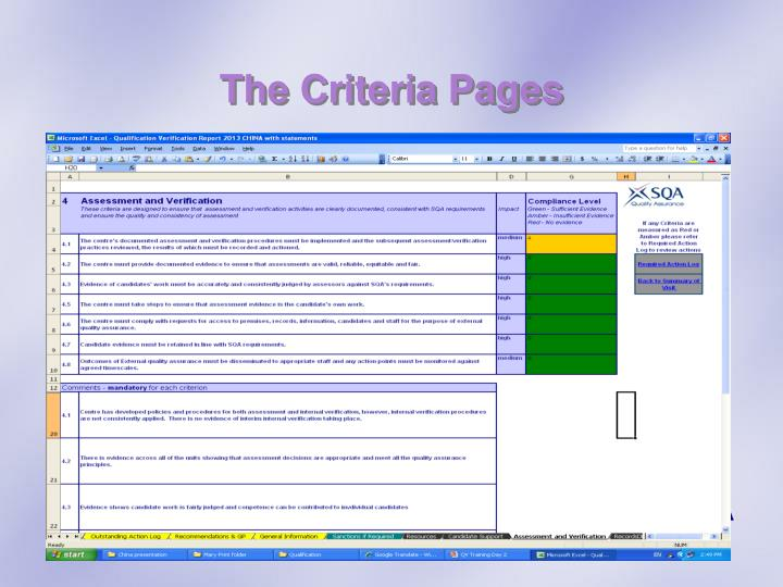 The Criteria Pages