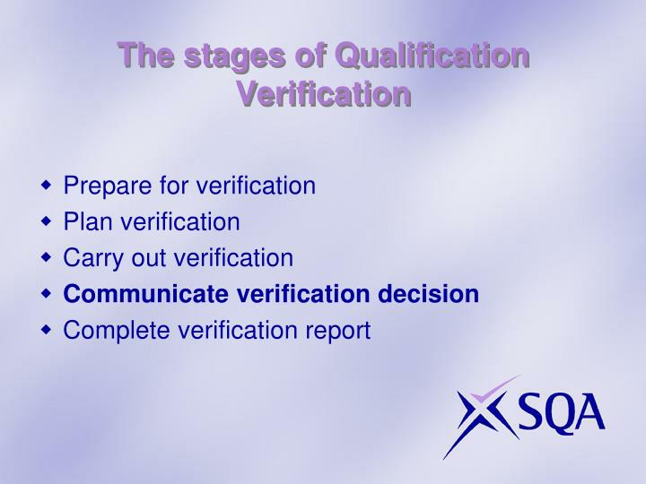 The stages of Qualification Verification