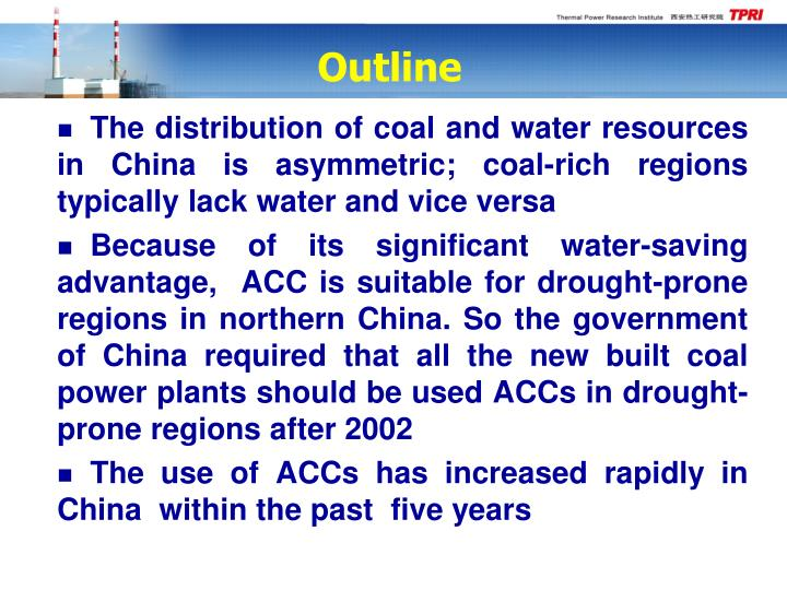 The distribution of coal and water resources in China is asymmetric; coal-rich regions typically lack water and vice versa