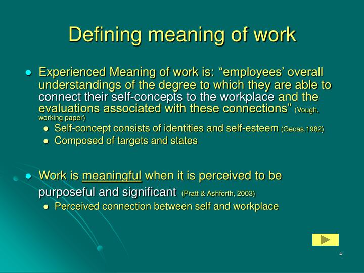 Defining meaning of work