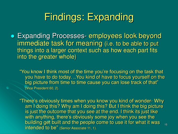 Findings: Expanding