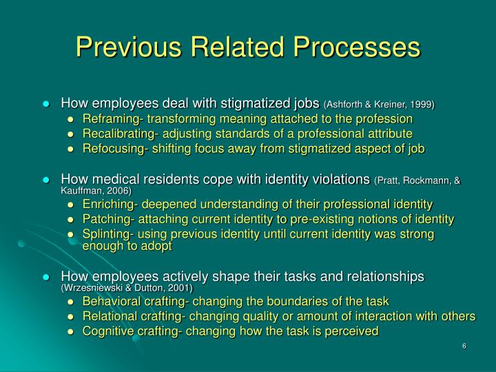 Previous Related Processes