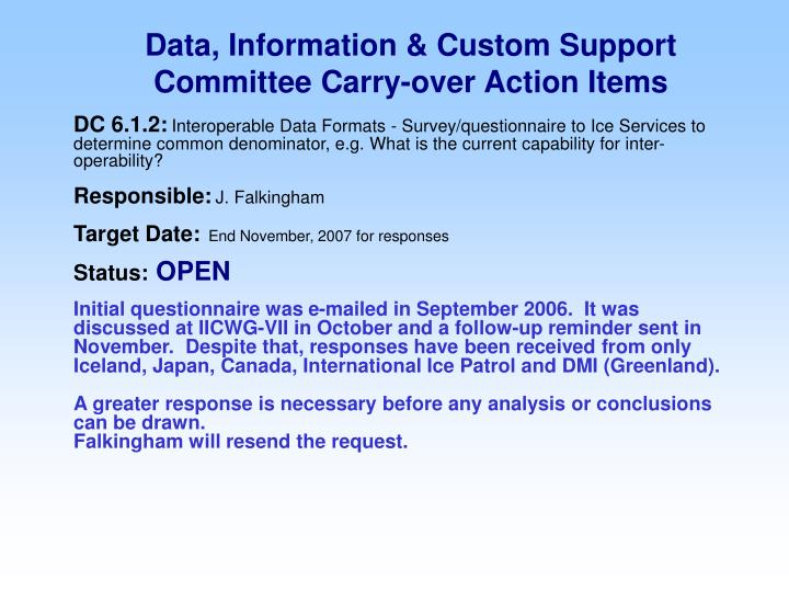 Data information custom support committee carry over action items