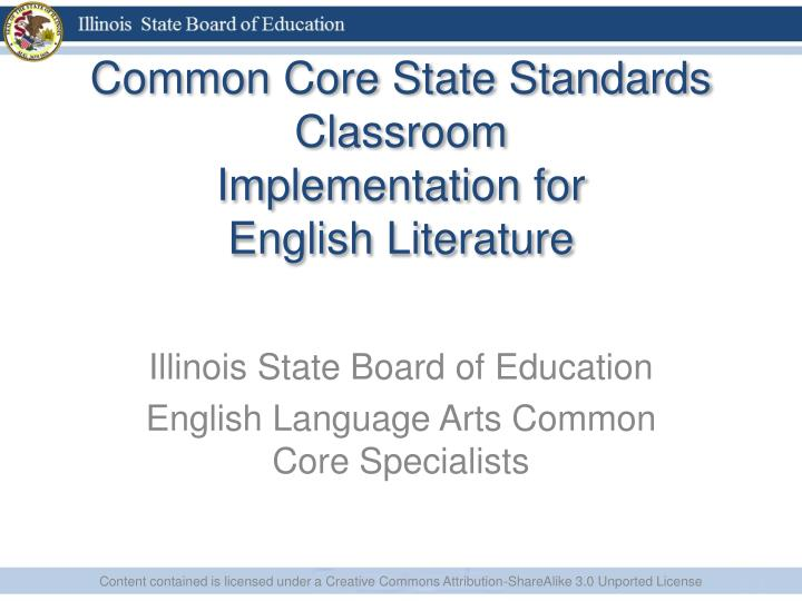 common core state standards classroom implementation for english literature n.