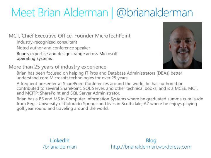 Meet brian alderman @ brianalderman
