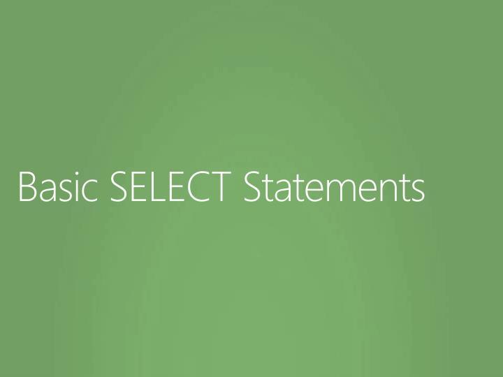 Basic SELECT