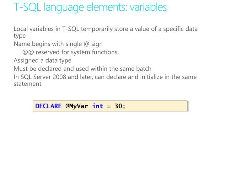 T-SQL language elements: variables