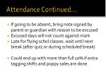 attendance continued