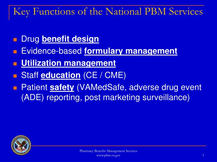 Key functions of the national pbm services