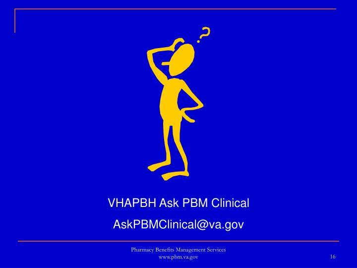 VHAPBH Ask PBM Clinical