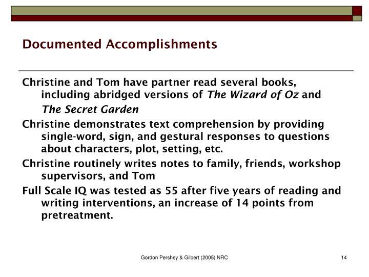 Documented Accomplishments
