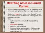 rewriting notes in cornell format