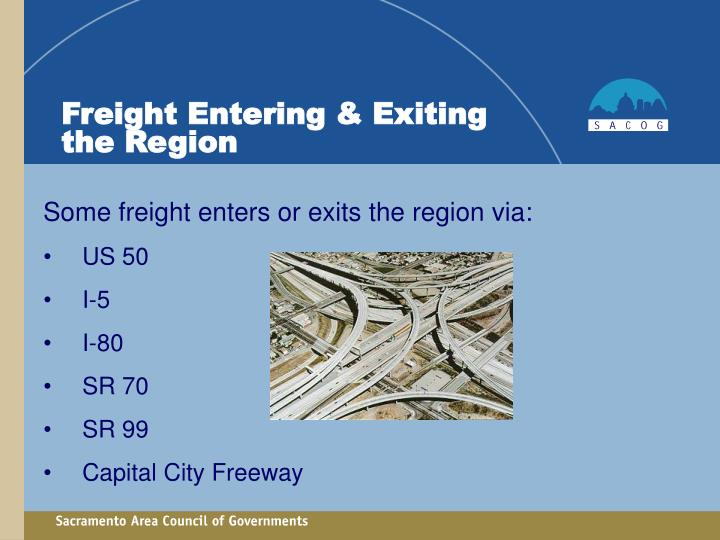 Freight Entering & Exiting the Region