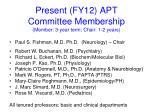 present fy12 apt committee membership member 3 year term chair 1 2 years