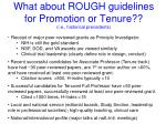 what about rough guidelines for promotion or tenure i e historical precedents