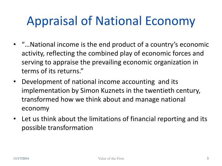 Appraisal of national economy