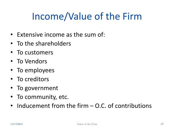 Income/Value of the Firm