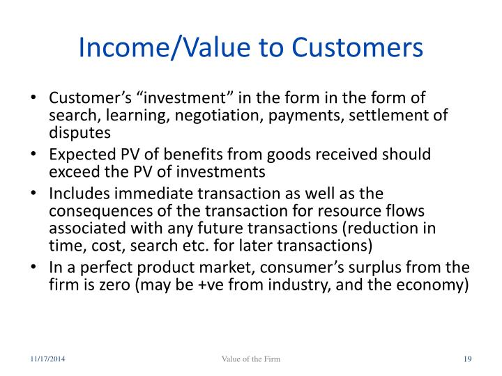 Income/Value to Customers