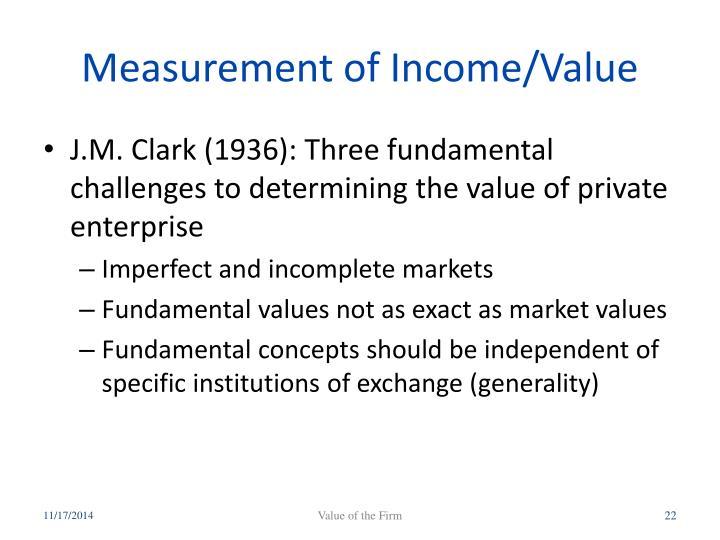 Measurement of Income/Value