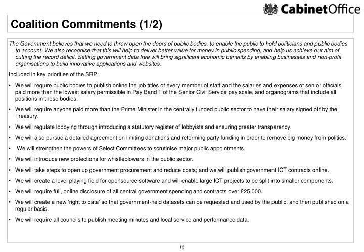 Coalition Commitments (1/2)