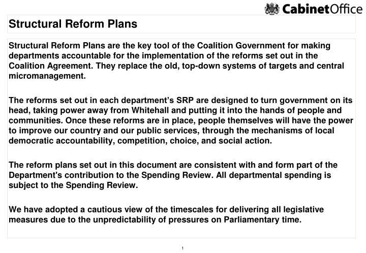 Structural reform plans