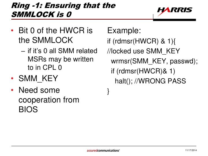 Ring -1: Ensuring that the SMMLOCK is 0
