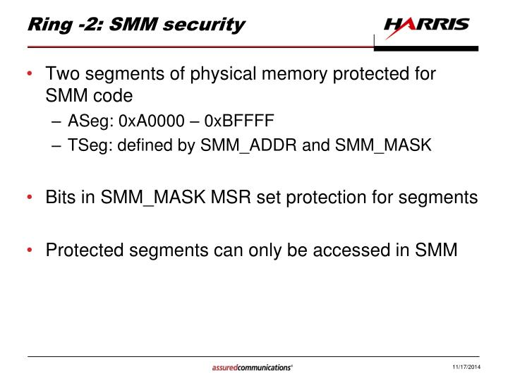 Ring -2: SMM security