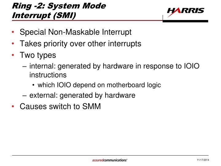Ring -2: System Mode Interrupt (SMI)