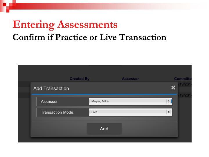 Entering Assessments