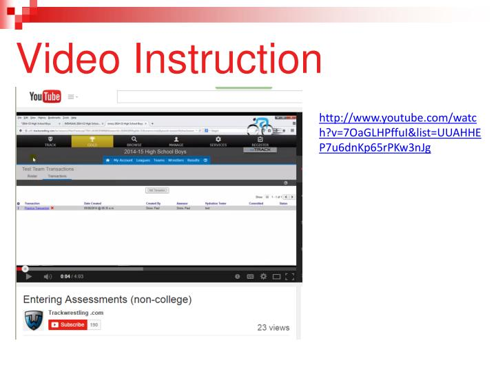 Video Instruction