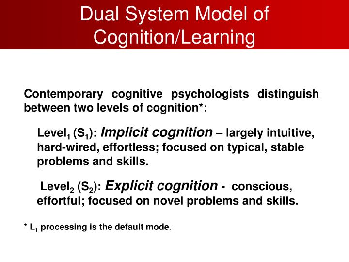 Dual System Model of Cognition/Learning
