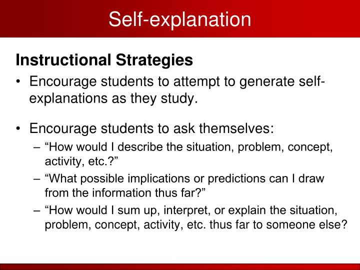 Self-explanation