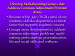 develop skill building groups that address common adjustment problem areas