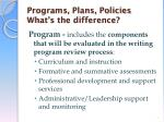 programs plans policies what s the difference