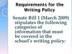 requirements for the writing policy