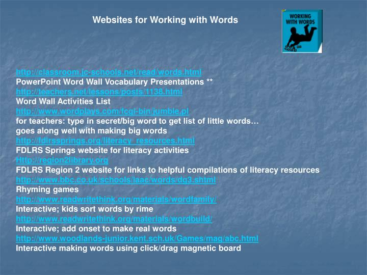 Websites for Working with Words