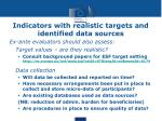 indicators with realistic targets and identified data sources