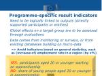 programme specific result indicators