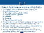 steps in designing programme specific indicators
