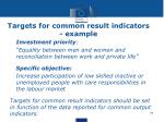 targets for common result indicators example
