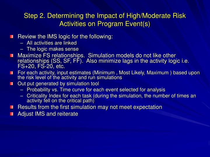 Step 2. Determining the Impact of High/Moderate Risk Activities on Program Event(s)