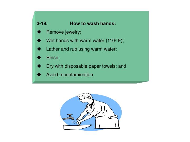 3-18.                 How to wash hands: