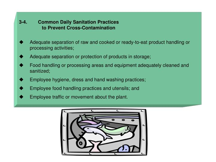 3-4.        Common Daily Sanitation Practices
