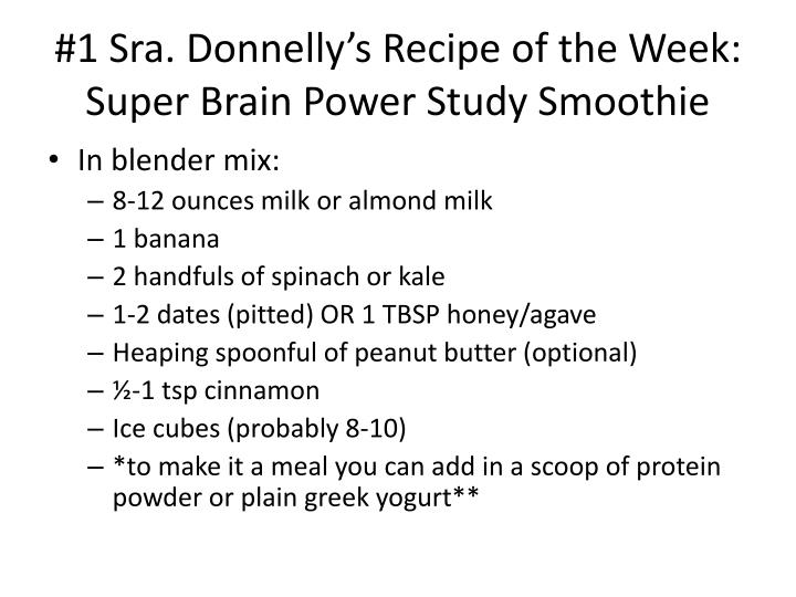 1 sra donnelly s recipe of the week super brain power study smoothie